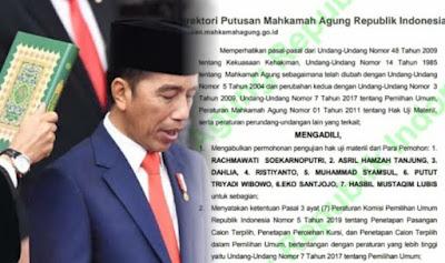 Gempar Putusan MA Dasar Hukum Penetapan Kemenangan Jokowi Dibatalkan