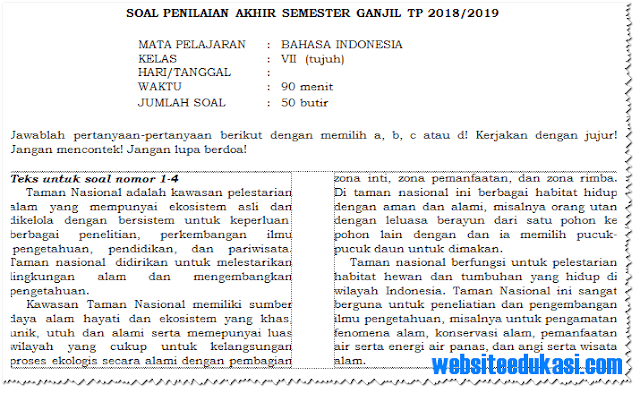 Soal PAS/ UAS Kelas 7 Semester 1 K13 Tahun 2018/2019