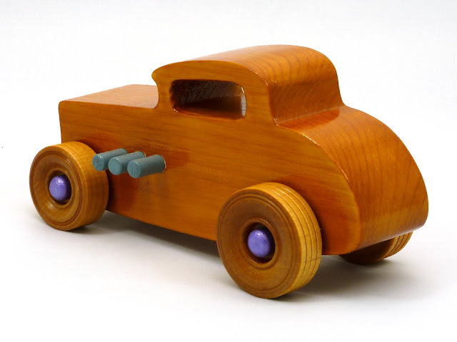 Left Side Rear - Wooden Toy Car - Hot Rod Freaky Ford - 32 Deuce Coupe - Pine - Amber Shellac - Metallic Purple Hubs - Gray Exhaust
