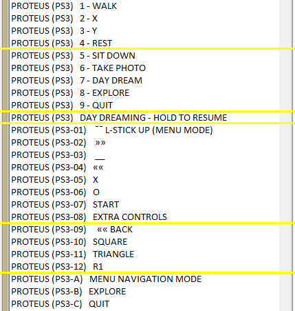 Proteus accessible gaming profile for playing with a single switch.