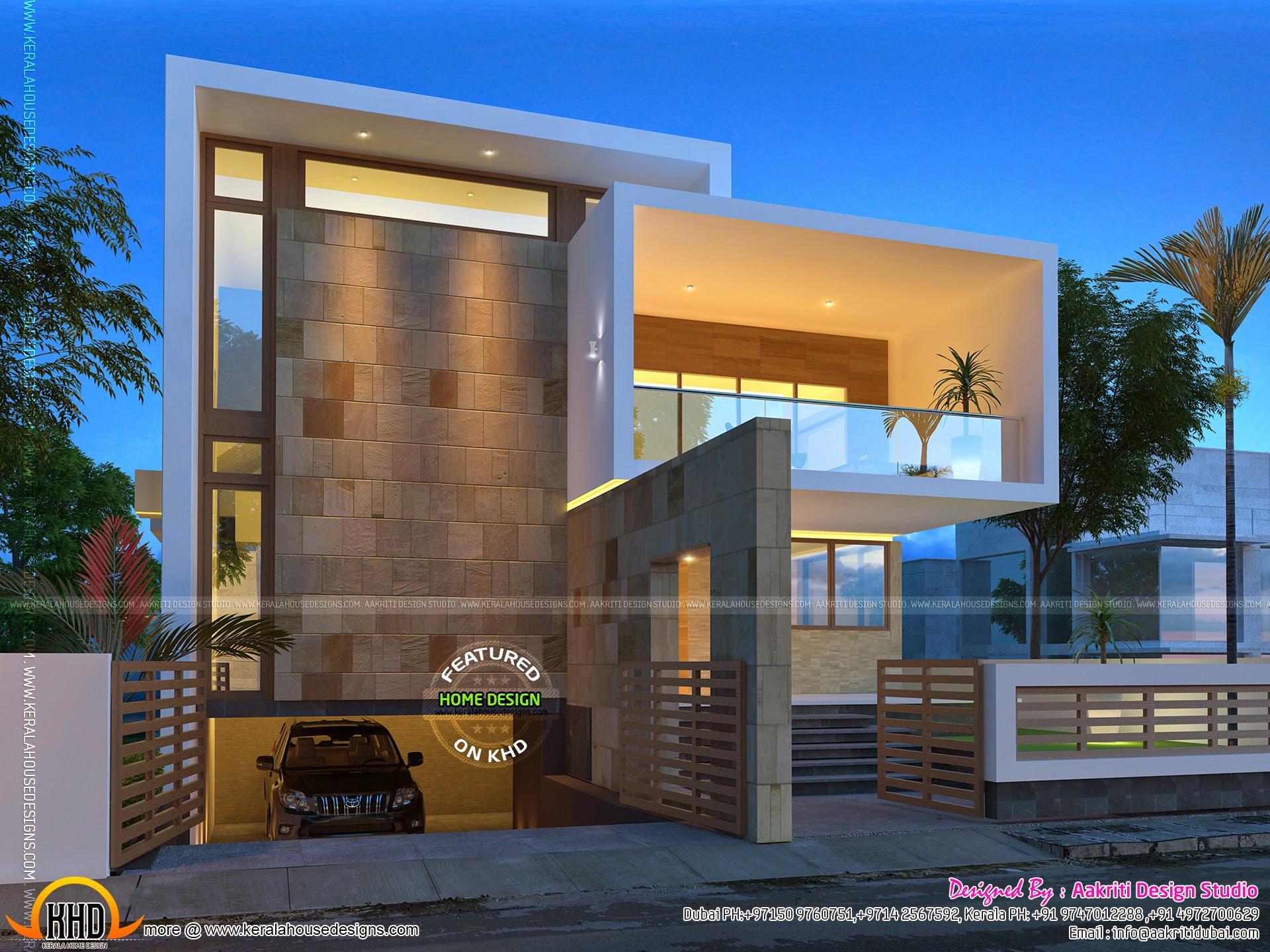Beautiful contemporary home night views - Kerala home ...