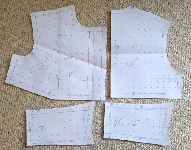 Creating a collar pattern and using front and back blocks.