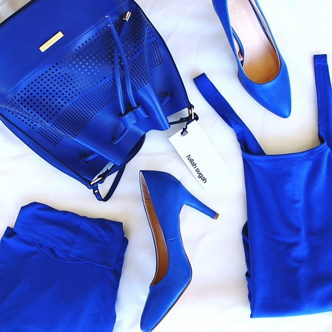 Cobalt blue trend.Zara blue bodysuit.Fullah sugah tsanta.Voi&Noi γοβες.