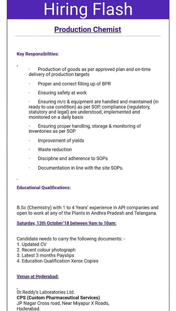 Dr. Reddy's Laboratories Walk In Interview at 13 October