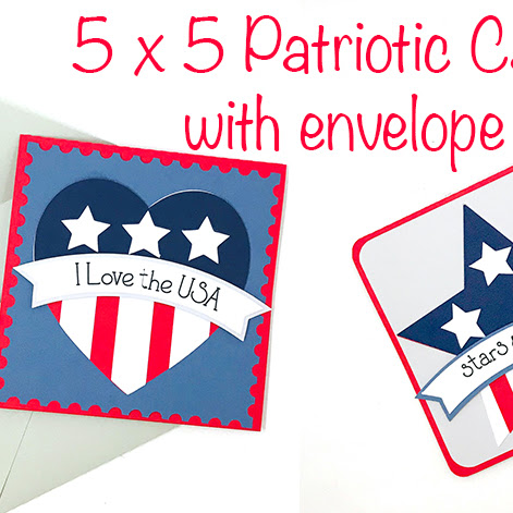 Square Patriotic Cards with Envelope