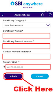 sbi anywhere app add intra bank beneficiary