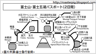 富士山・富士五湖パスポート(Mt. Fuji and The Fuji Five Lakes passport) route map