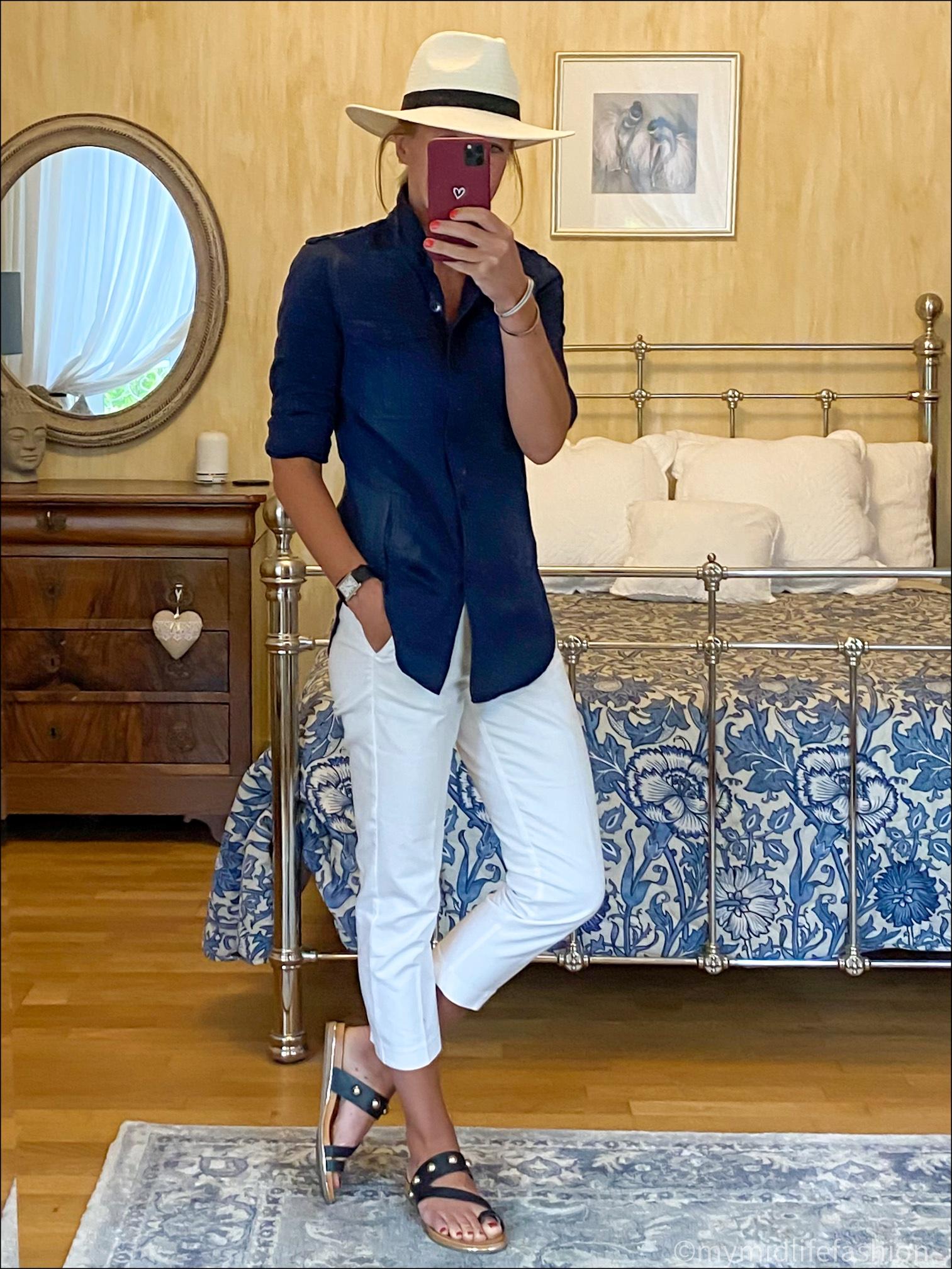 my midlife fashion, carvela karafe sandals, Zara Panama hat, Isabel Marant etoile overshirt, marks and Spencer capri trousers