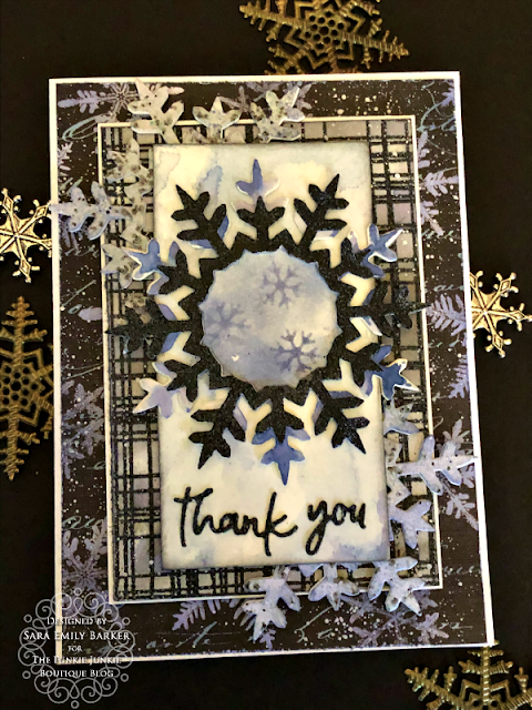 Sara Emily Barker https://sarascloset1.blogspot.com/2020/01/mixed-media-layered-card.html #timholtz #mixedmedia #wreath&snowflake #lumberjack 1