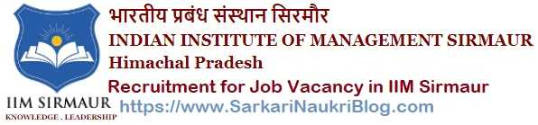 Government Jobs IIM Sirmaur