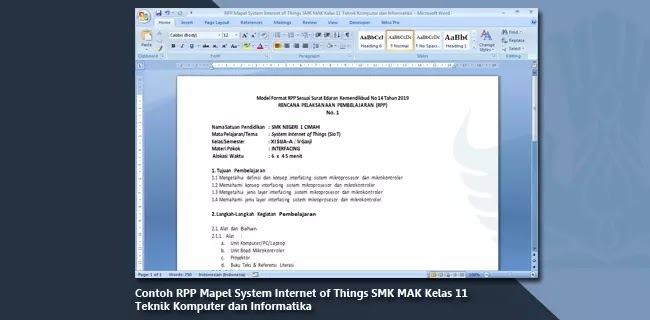 Contoh RPP Mapel System Internet of Things SMK MAK Kelas 11 Teknik Komputer dan Informatika