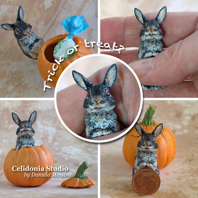 Halloween Rabbit - Polymer Clay Miniature