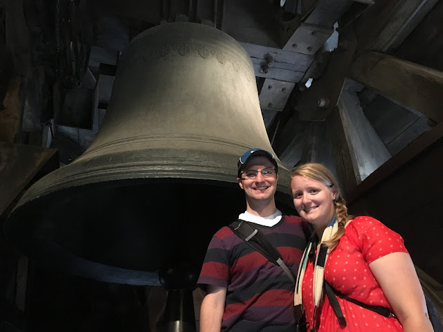 Ben and Meagan in front of one of the bells in the Notre Dame Bell Tower