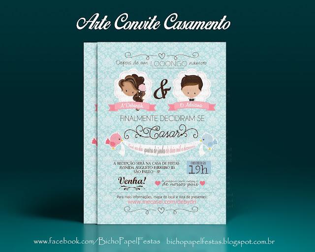 Arte Convite Casamento digital vintage