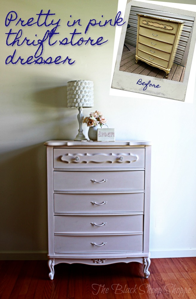 This thrift store dresser is now pretty in pink.