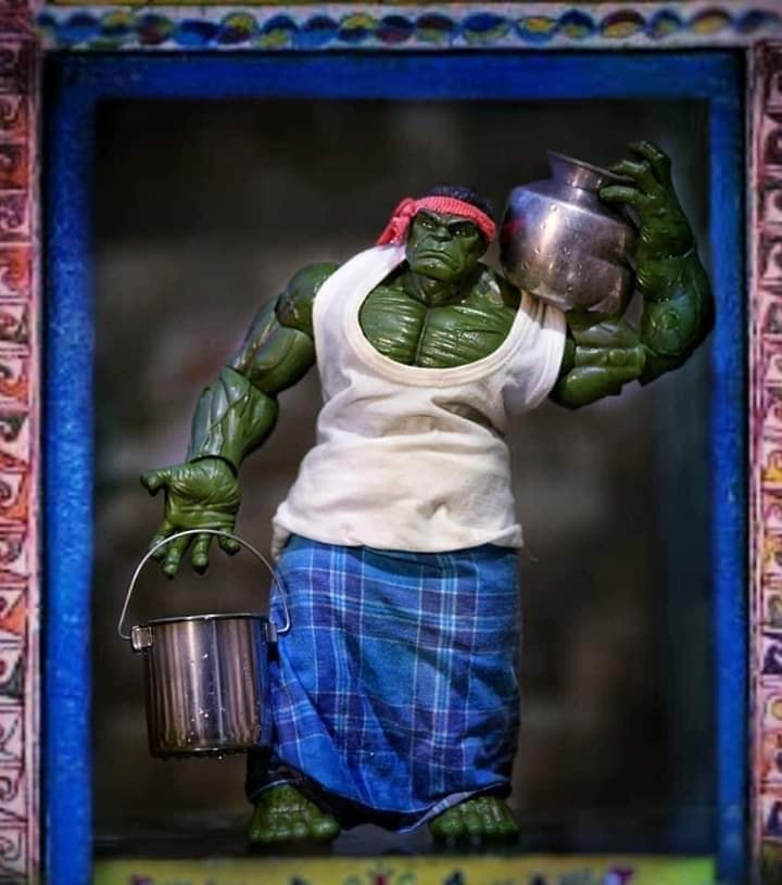 Super Hero Hulk carrying water