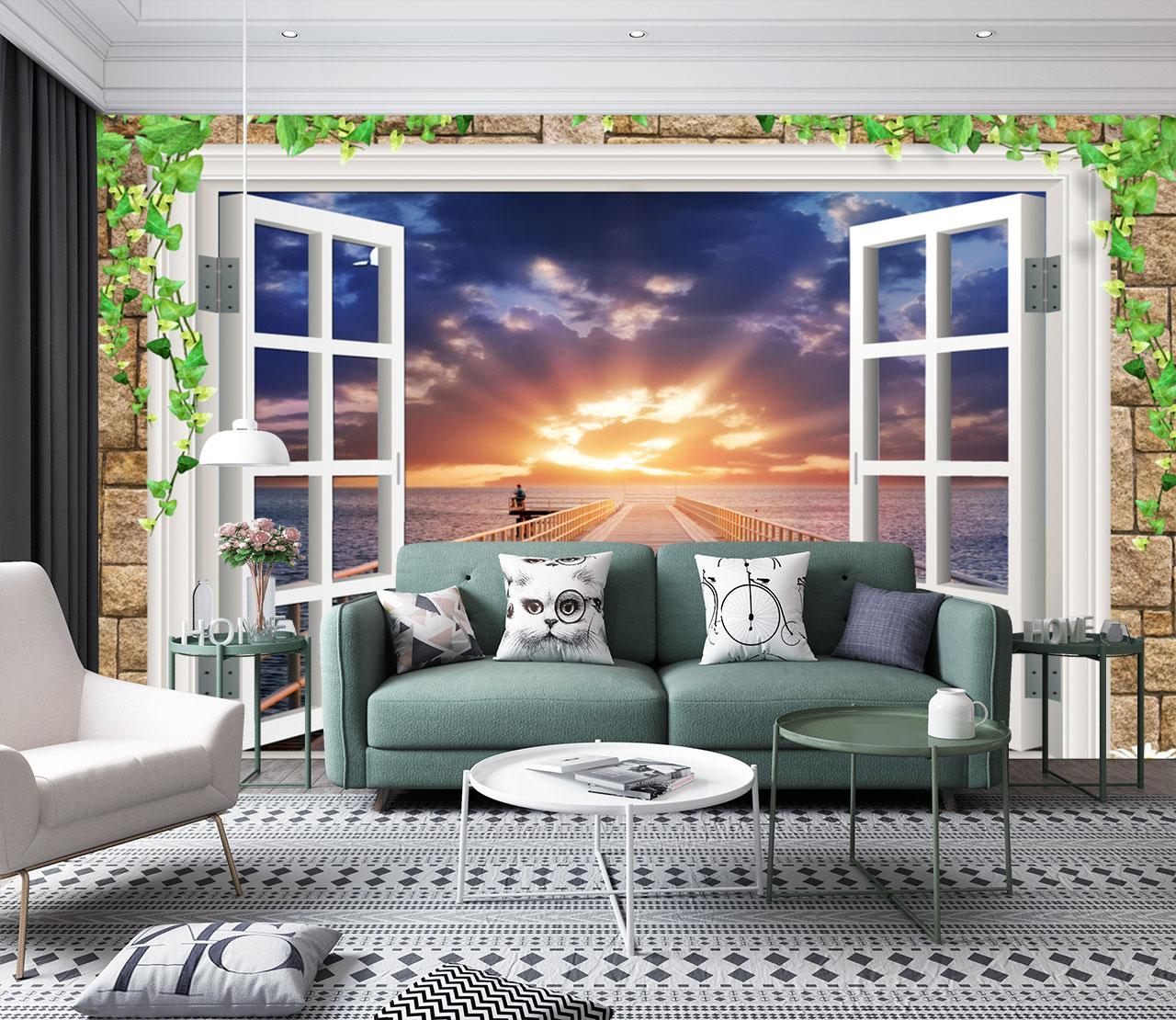 Tranh Cửa Sổ 3D Cho Phòng Khách Sang Trọng