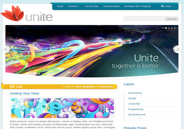 Unite White Blogger Template