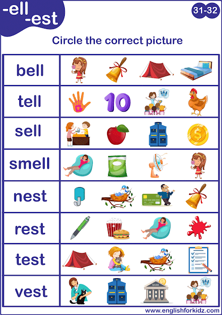 Short E sound worksheet - matching words to pictures