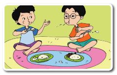 udin menyemburkan makanannya kepada temannya www.jokowidodo-marufamin.com