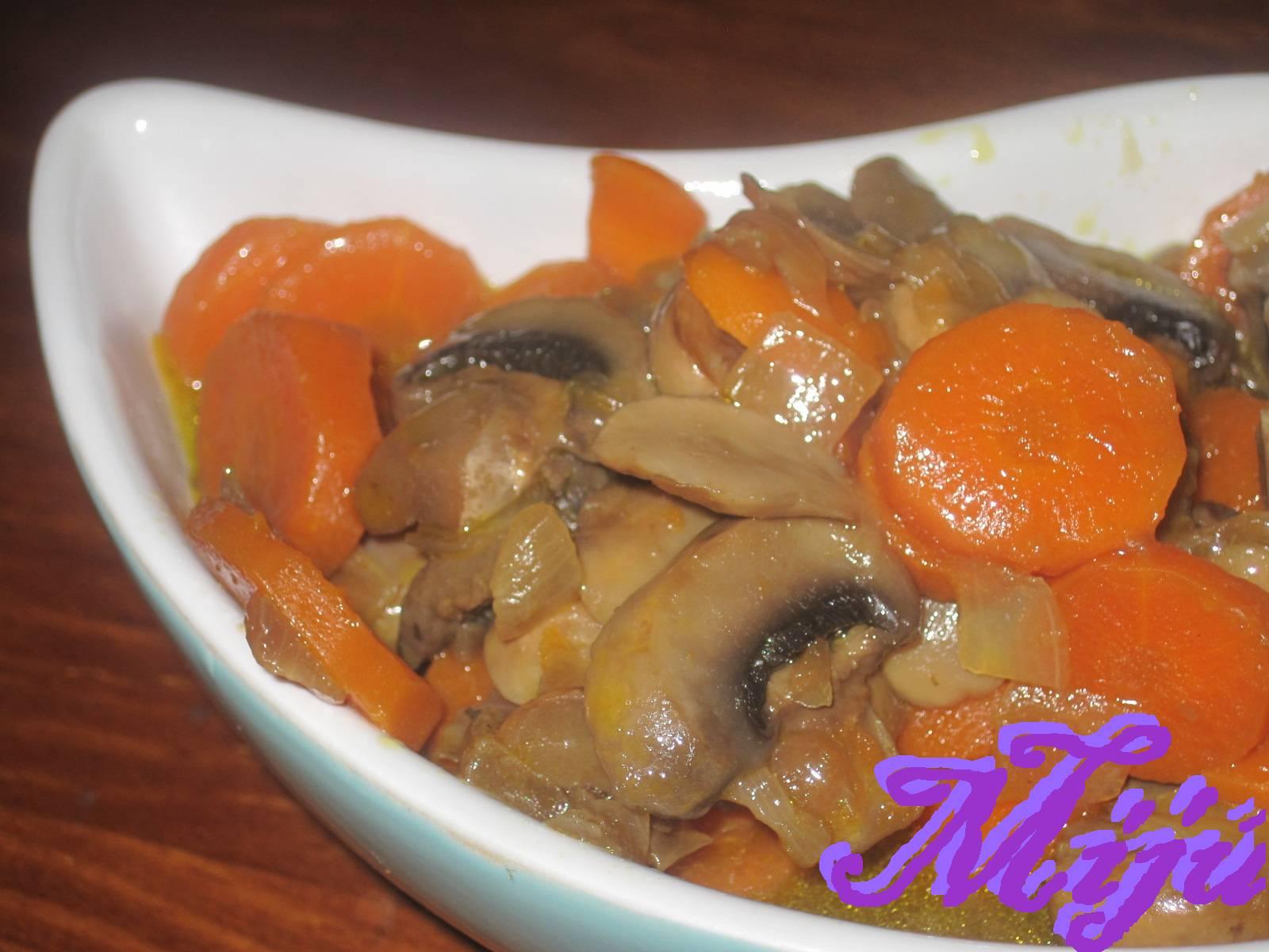 El bocado de la huerta champi ones con zanahoria for Cocinar champinones laminados