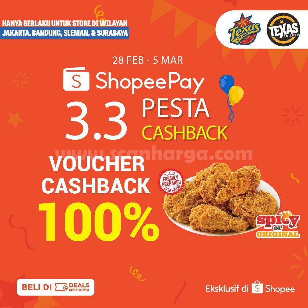 TEXAS CHICKEN Promo Shopeepay! Voucher Deals Cashback 100%