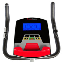 Fitness Reality 210's console with blue backlit LCD display, image, displays time, speed, distance, rpm, watts, odometer, calories burned & purse heart-rate