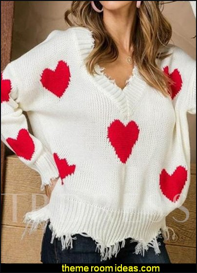 V-Neck Heart Shaped Fall Women's Sweater womens tops womens clothing womens jumpers womens blouses