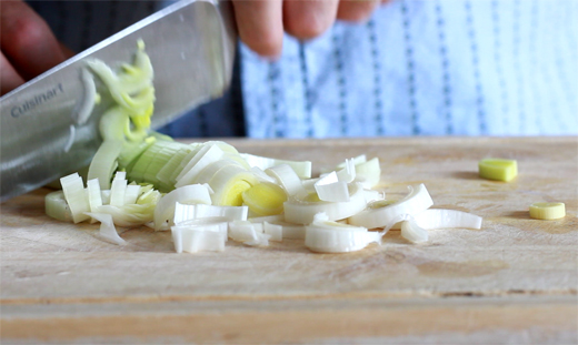 Chopping Leek to Make Extra Good Butternut Squash Soup