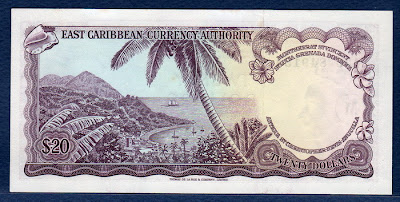 East Caribbean banknotes paper money 20 Dollars bill