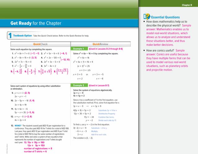 دليل المعلم رياضيات بالانجليزي الوحدات من 8 الى 10 الصف العاشر المتقدم