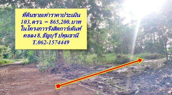 ที่ดินขายเท่าราคาประเมิน คลองแปด สด,ผ่อน ได้ T.062-1574449