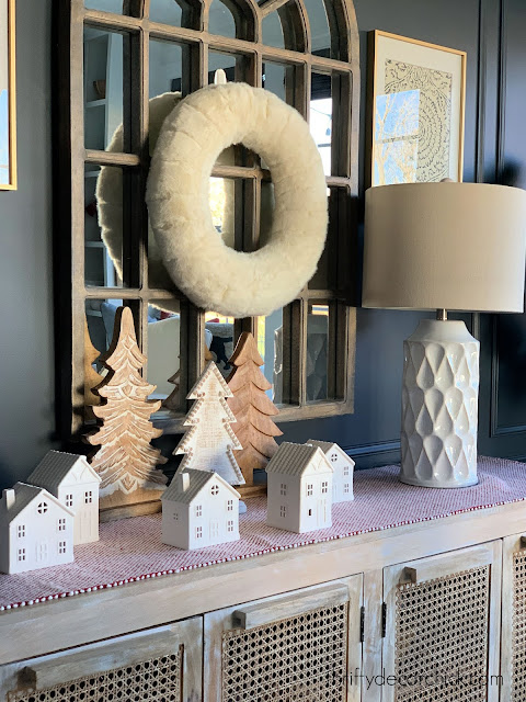 White Christmas houses on table