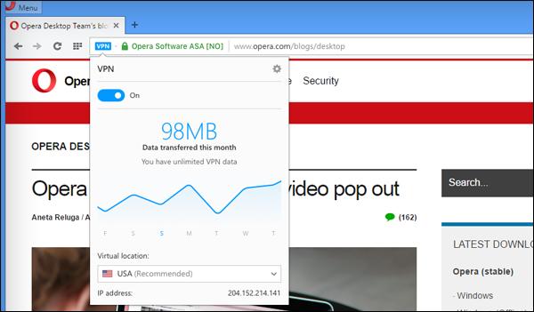 متصفح Opera توفر خدمة VPN مجانية و سريع وغيرمحدودة  بدون الحاجة إلى إضافات أو برامج في نسختها  الجديدة