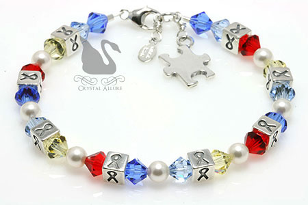 Crystal Autism Awareness Ribbon Bracelet (BA033-AU) by Crystal Allure