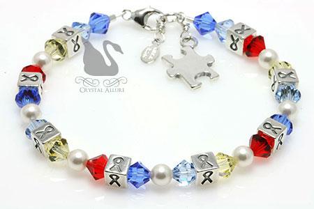 Crystal Autism Awareness Ribbon Bracelet (BA033-AU) by Crystal Allure