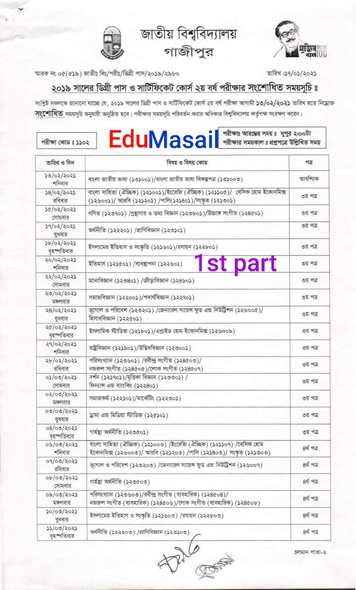 degree 2nd year routine 2021 - 1st page - edumasail