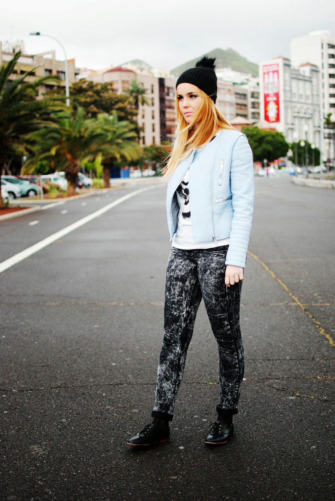 nery hdez, vjstyle, beanie, oxford shoes, blue biker, baby blue, tie-dye