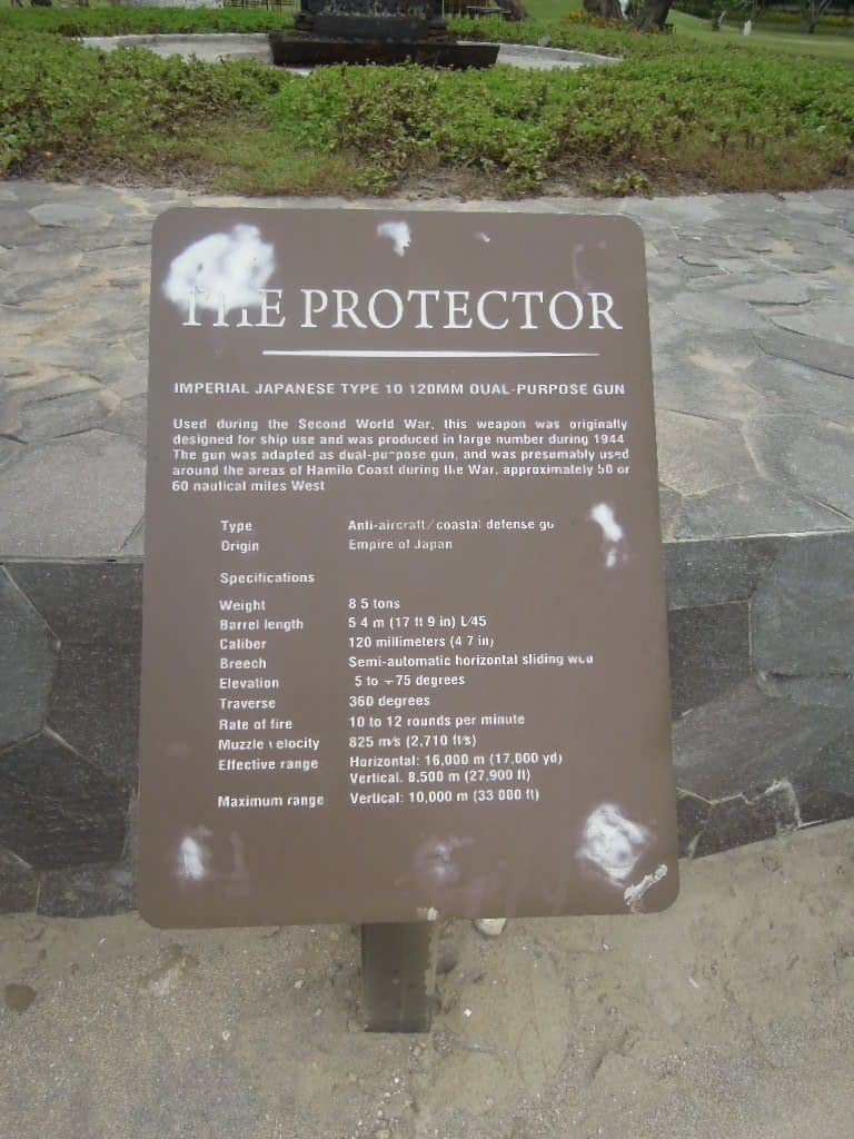 A marker bearing the description of the protector at Pico de Loro Beach & Country Club