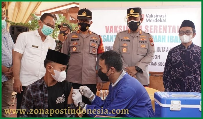 Polresta Sidoarjo Masifkan Vaksinasi di Pondok Pesantren Roudlotul Muta'alimat III Al Machfudzoh