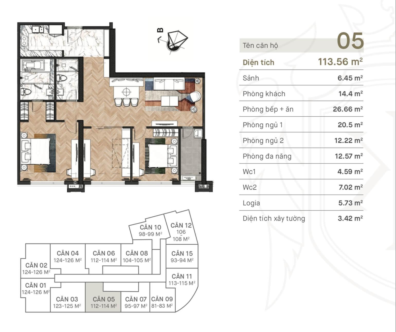 Thiết kế căn hộ 05 dự án 108 Nguyễn Trãi