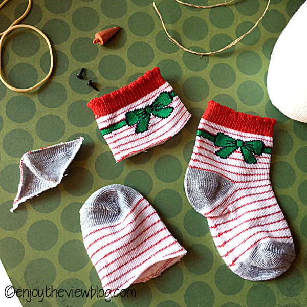 baby socks cut for making snowbabies