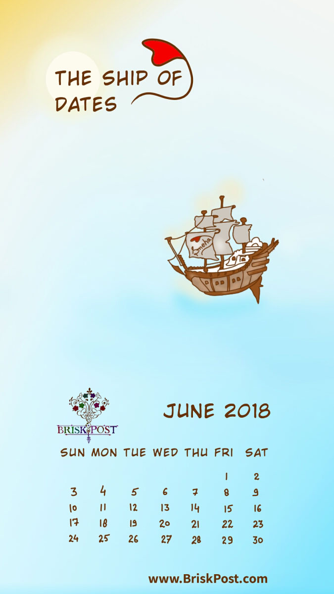 June 2018 calendar with ship in blue-green sea water cartoon illustration;   calendar type: monthly view, mobile wallpaper;  cartoon calendar template: the ship of dates