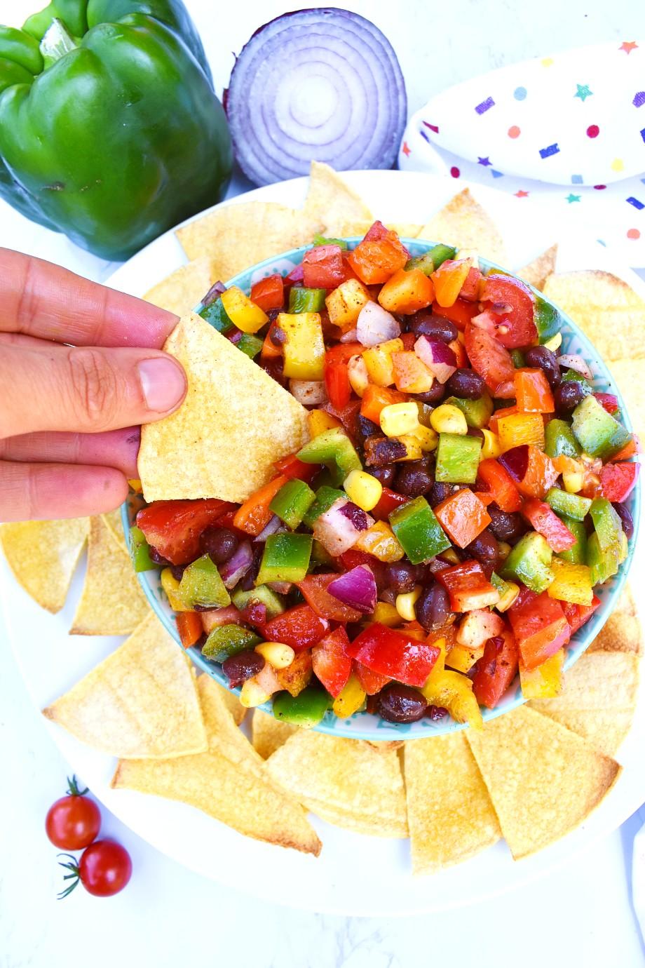 Chip with texas caviar