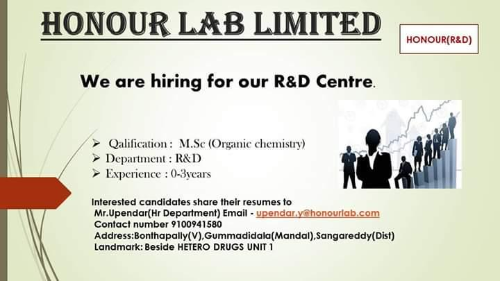 Urgent Openings for Freshers & Experience – R&D / AR&D @ Honour Lab Limited