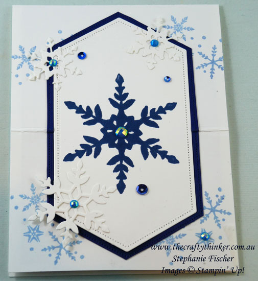 #thecraftythinker #funfold #stampinup #cardmaking #apertureeaselcard #snowflakewishes #xmascard , Aperture Easel Card, Fun Fold, Snowflake Wishes Bundle, Christmas Card, Stampin' Up Demonstrator, Stephanie Fischer, Sydney NSW