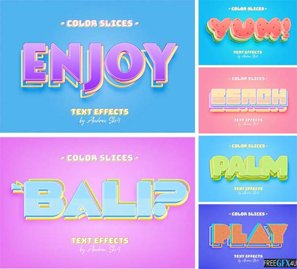 Color Slice Text Effects