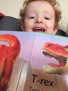 Smiling toddler boy holding up the book
