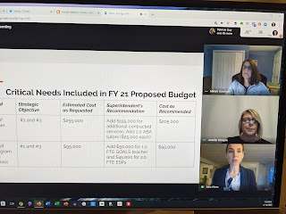 screengrab of the budget discussion portion of the School Committee meeting Tuesday, April 14, 2020