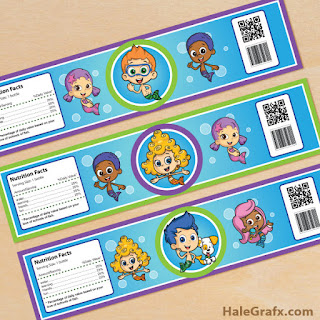 bubble guppies water bottle labels